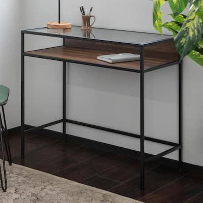 35 in. Rectangular Dark Walnut Writing Desks with Built-In Storage