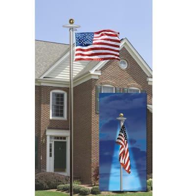 20 ft. Aluminum Flagpole with 3 ft. x 5 ft. Nylon US Flag and Solar Light