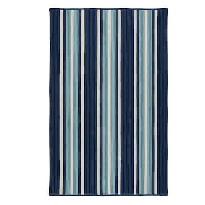 Mesa Stripe Shoreline Blue 12 ft. x 15 ft. Indoor/Outdoor Area Rug