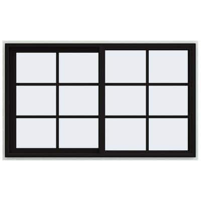 60 in. x 36 in. V-4500 Series Black FiniShield Vinyl Left-Handed Sliding Window with Colonial Grids/Grilles