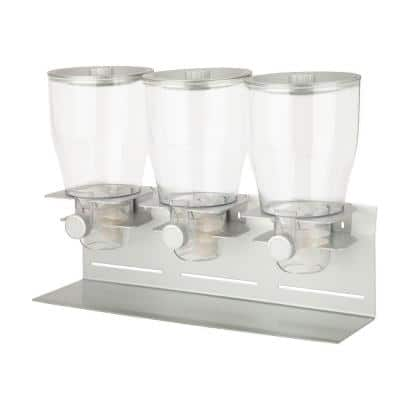 Triple Canister Dry Food Cereal Dispenser in Stainless Steel