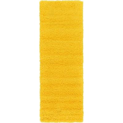 Solid Shag Tuscan Sun Yellow 6 ft. Runner Rug
