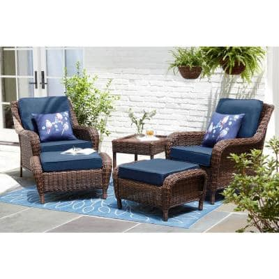 Cambridge Brown Wicker Outdoor Patio Ottoman with CushionGuard Midnight Navy Blue Cushions