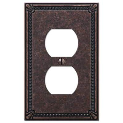 Imperial Bead 1 Gang Duplex Metal Wall Plate - Tumbled Aged Bronze