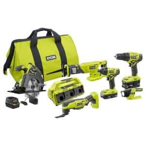 ONE+ 18V Cordless 6-Tool Combo Kit with (2) Batteries, Charger, Bag with 6-Port Dual Chemistry IntelliPort SUPERCHARGER