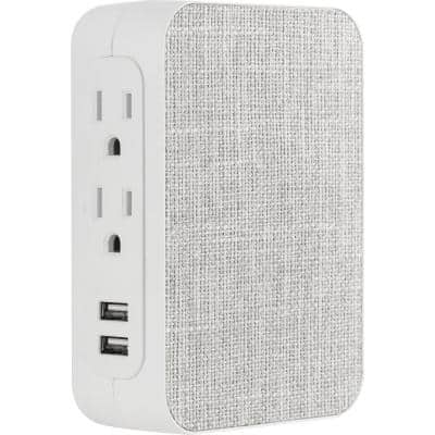 5-Outlet Surge Fabric Tap with USB, White and Gray