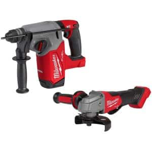 M18 FUEL 18-Volt Lithium-Ion Brushless Cordless 1 in. SDS-Plus Rotary Hammer with 4-1/2 in./5 in. Grinder (2-Tool)