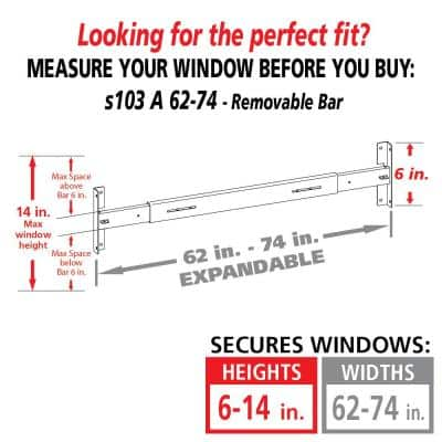 Removable 62 in. to 74 in. W x 6 in. H Adjustable Width 1-Bar Window Guard, White