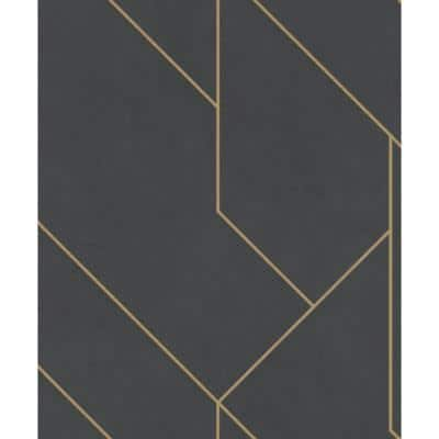 57.8 sq. ft. Pollock Black Gilded Geometric Strippable Wallpaper Covers