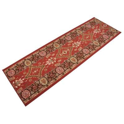 """Mahal Design Cut to Size Red Color 26"""" Width x Your Choice Length Custom Size Slip Resistant Rubber Runner Rug"""