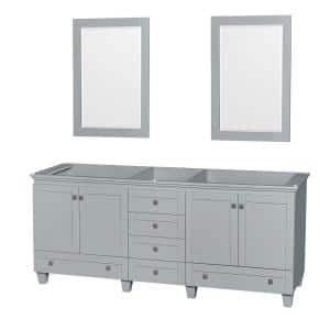 Acclaim 80 in. Vanity Cabinet with Mirror in Oyster Gray