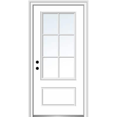 36 in. x 80 in. Simulated Divided Lites Right-Hand 3/4-Lite Clear 1-Panel Primed Fiberglass Smooth Prehung Front Door