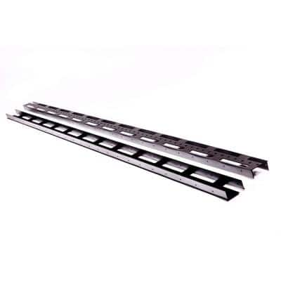 1.5 in. x 3 in. x 92 in. Black Aluminum Vertical Fence Stringer Kit, Includes 2 Stringers, 4 Brackets and All Fasteners