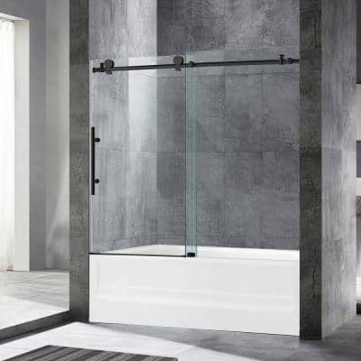 Dilham 56 in. to 60 in. x 62 in. Frameless Sliding Bathtub Door with Shatter Retention Glass in Matte Black