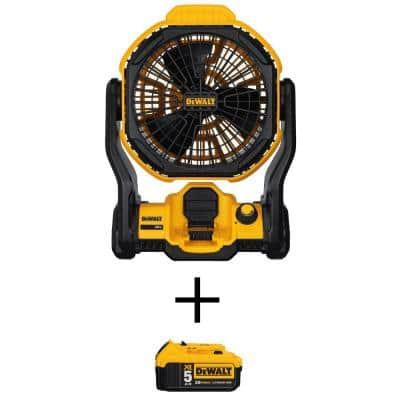 20-Volt MAX Lithium-Ion Cordless and Corded Jobsite Fan (Tool-Only) with 20-Volt MAX XR Lithium-Ion (1) 5.0Ah Battery
