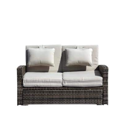Miranda Wicker Outdoor Daybed Combo with Tan Cushions
