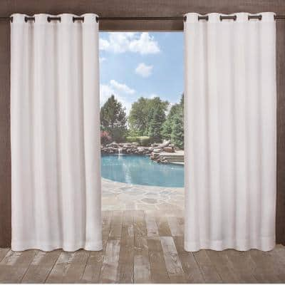 Delano Winter White Solid Polyester 54 in. W x 84 in. L Grommet Top Indoor/Outdoor Curtain Panel (Set of 2)