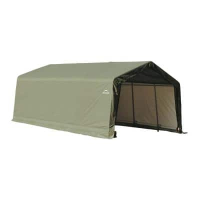 12 ft. W x 20 ft. D x 8 ft. H Peak-Style Garage Storage Shelter in Green with Corrosion-Resistant, All-Steel Frame