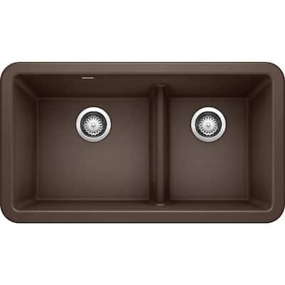 Ikon Cafe Brown Granite 33 in. Double Bowl Farmhouse Apron Kitchen Sink