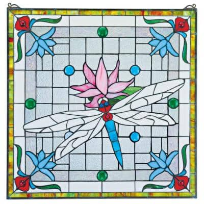Dragonfly Pond Stained Glass Window Panel