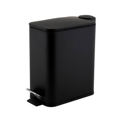 Slim Rectangular 5 Liter Pedal Trash Bin with Soft Close Lid in Black