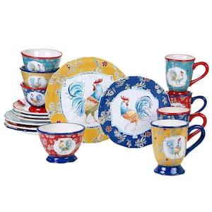 Morning Bloom 16-Piece Seasonal Multicolored Earthenware Dinnerware Set (Service for 4)