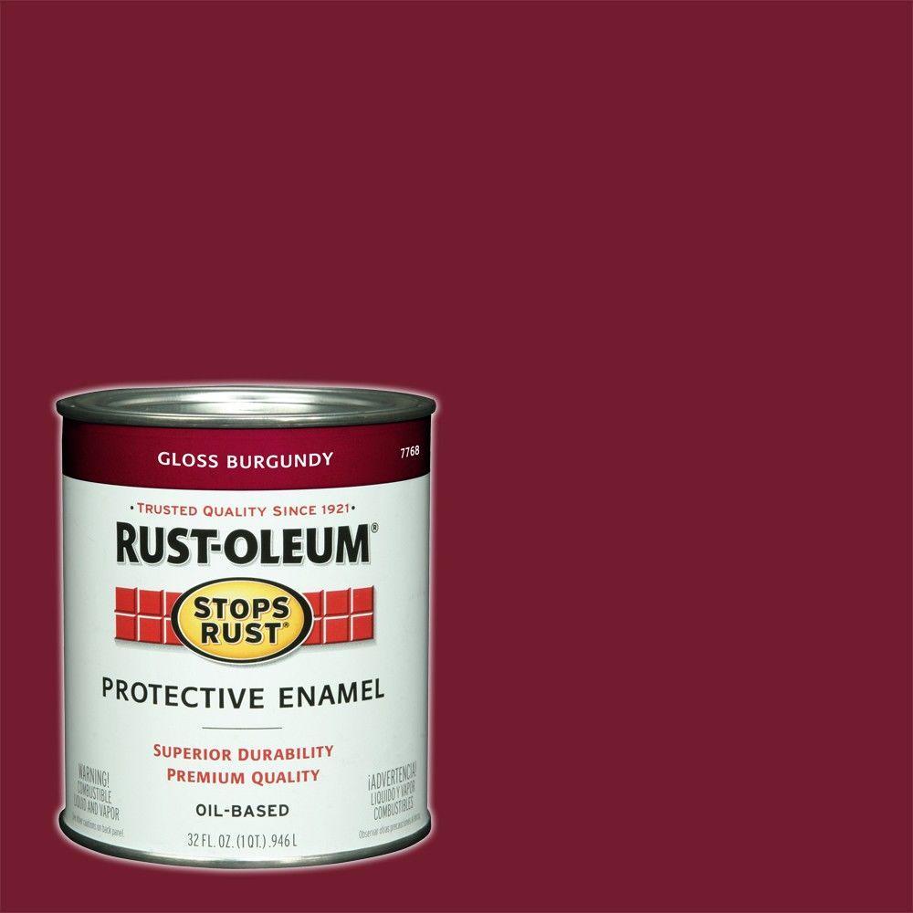 1 qt. Protective Enamel Gloss Burgundy Interior/Exterior Paint (2-Pack)