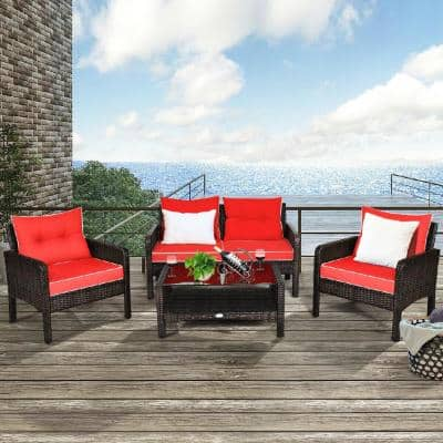 4-Piece Wicker Patio Conversation Sectional Seating Set Outdoor Patio Rattan Furniture Set With Red Cushions