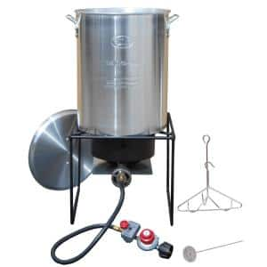 12 in. Welded Square Propane Gas Outdoor Turkey Fryer with 29 qt. Pot, Cast Burner and Windguard