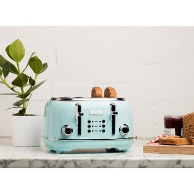Heritage 1500-Watt 4-Slice Turquoise Wide Slot Retro Toaster with Removable Crumb Tray and Browning Control