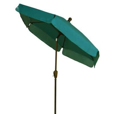 7.5 ft. Champagne Bronze Pole Tilt Garden Market Patio Umbrella in Forest Green
