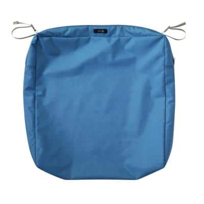 Ravenna 23 in. W x 23 in. D x 5 in. H Square Patio Seat Cushion Slip Cover in Empire Blue