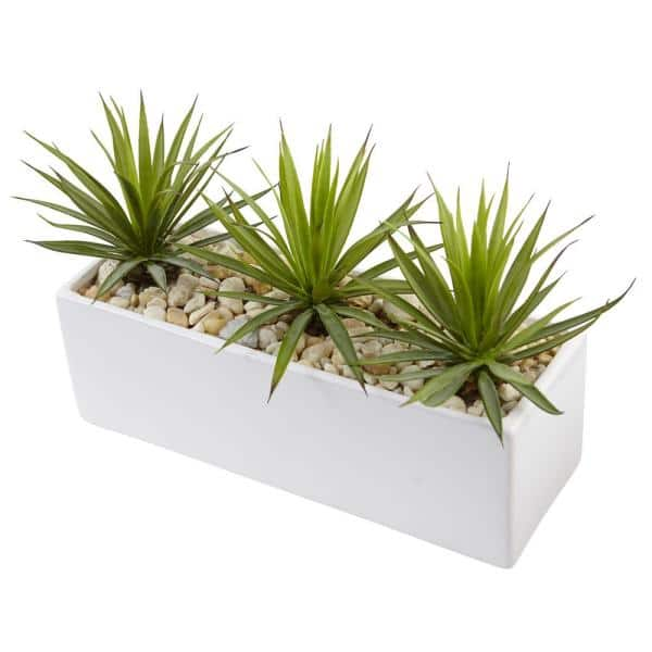 Nearly Natural Indoor Mini Agave Artificial Plant In Rectangular Ceramic 6974 The Home Depot