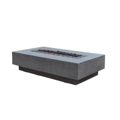 Hampton 56 in. x 32 in. x 14 in. Rectangle Concrete Propane Fire Pit Table in Light Gray