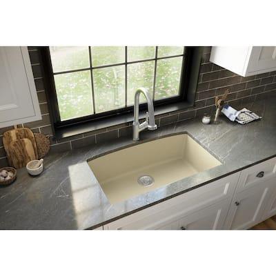 Undermount Quartz Composite 32 in. Single Bowl Kitchen Sink in Bisque