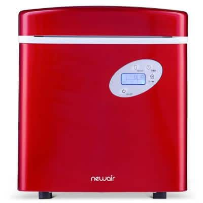 Portable 50 lb. of Ice a Day Countertop Ice Maker BPA Free Parts with 3 Ice Sizes and Easy to Clean - Red