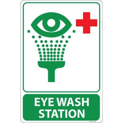 12 in. x 8 in. Plastic Eye Wash Station Sign