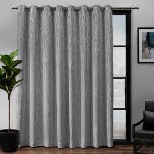 Forest Hill Patio Ash Grey Floral Polyester 108 in. W x 84 in. L Grommet Top, Room Darkening Curtain Panel