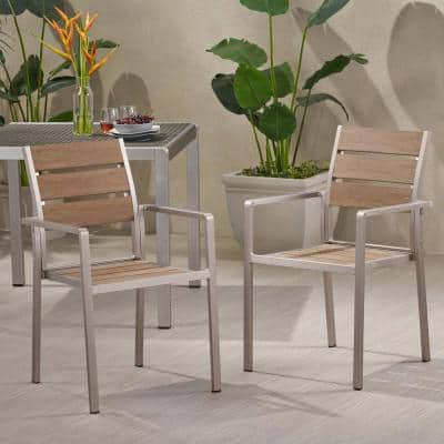 Cape Coral Silver Aluminum Outdoor Dining Chair (2-Pack)
