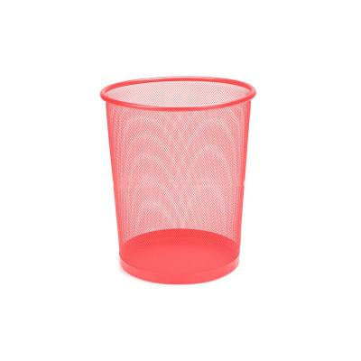 3 Gal. Red Round Open Metal Trash Can