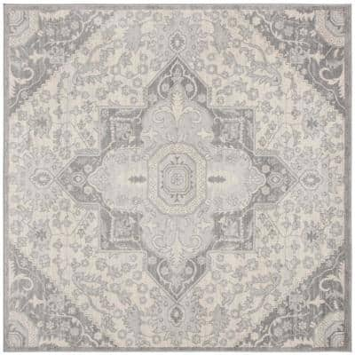 Brentwood Gray/Cream 7 ft. x 7 ft. Square Area Rug