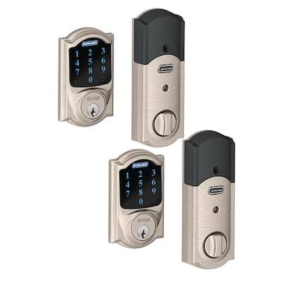 Camelot Satin Nickel Connect Smart Door Lock with Alarm (2-Pack)