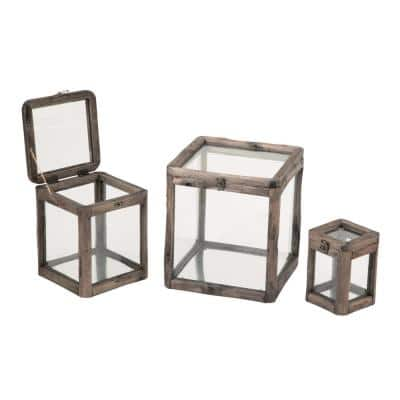 Distressed Brown Glass & Wood Display Boxes (Set of 3)