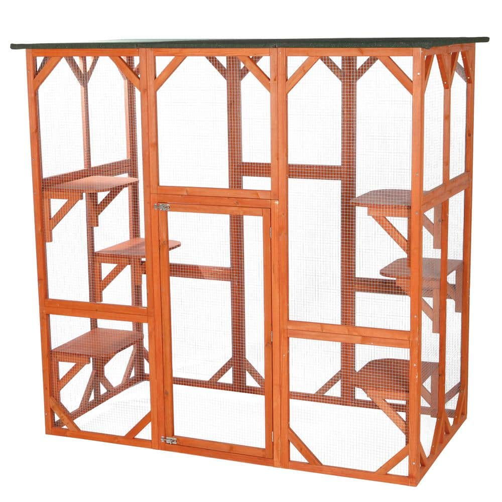 Trixie 70 75 In X 38 5 In X 70 75 In Wooden Outdoor Cat House 44110 The Home Depot