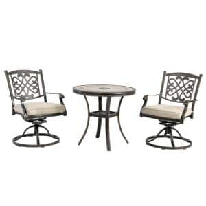 3-Piece Brown Cast Aluminum Round Stone Top Table Outdoor Bistro Set with Swivel Dining Chairs and Beige Cushions