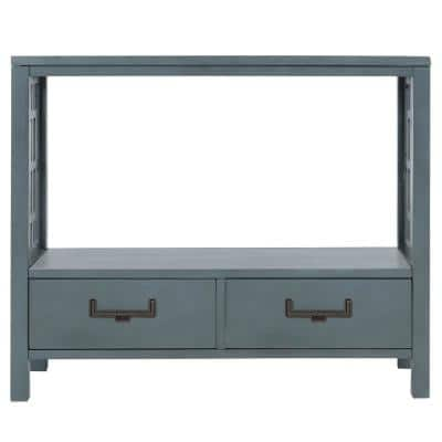 36 in. Navy Rectangle Wood Console Table with 2-Bottom Drawers