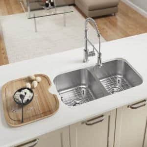 Wells New Chef S Collection Handcrafted Undermount Stainless Steel 33 In 60 40 Double Bowl Kitchen Sink Package Ncu3319 10l 1 The Home Depot