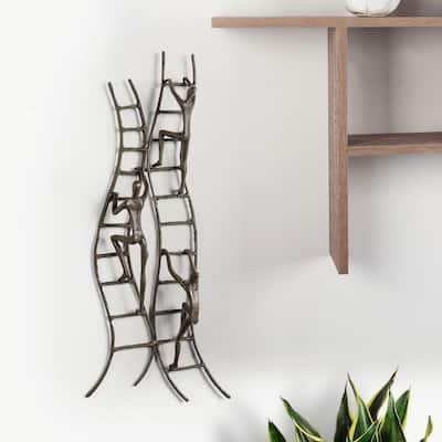 Climbing to Success Stairway Cast Iron Wall Art
