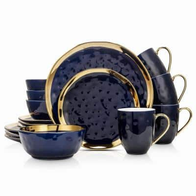 16-Piece Dishes for 4-Gold and Blue Florian Modern Porcelain Dish Set