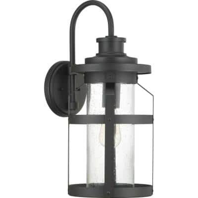 Haslett Collection 1-Light Textured Black Clear Seeded Glass Farmhouse Outdoor Large Wall Lantern Light